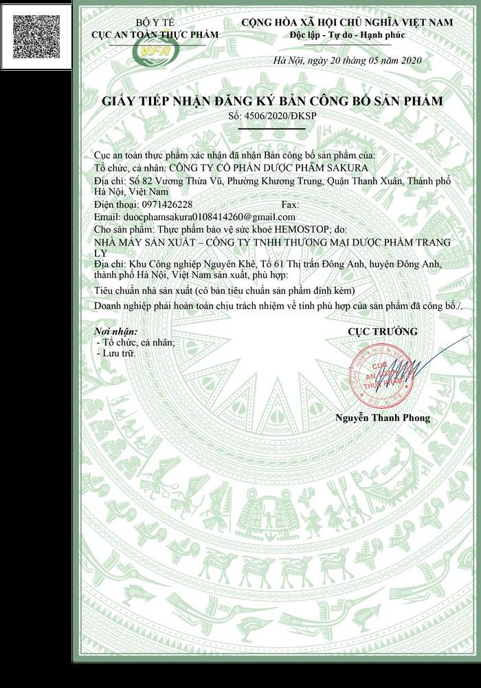 giấy phép của hemostop