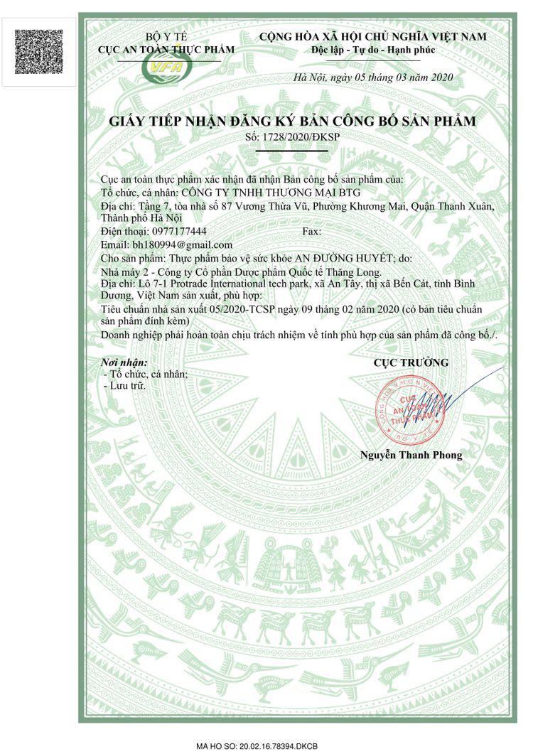 giấy phép của an đường huyết