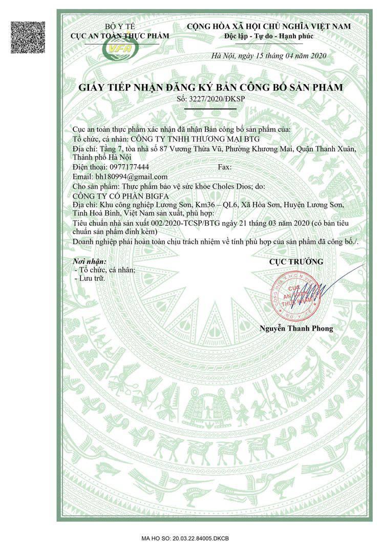 giấy phép của choles dios